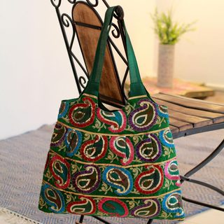 Embellished 'Rainbow Paisley' Shoulder Bag (India)