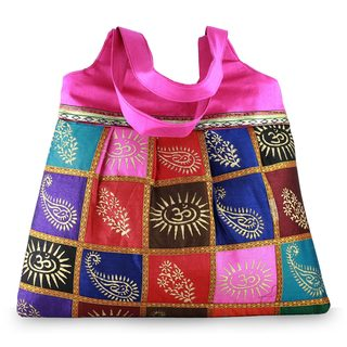 Block Printed 'Om Bouquet' Shoulder Bag (India)