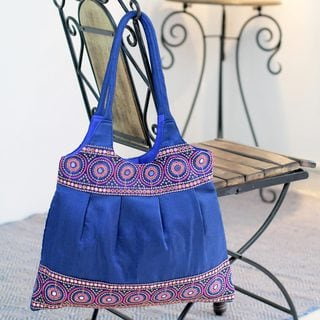 Embroidered 'Sapphire Mandalas' Shoulder Bag (India)