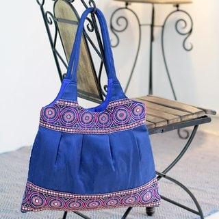 Embroidered 'Sapphire Mandalas' Shoulder Bag (India)