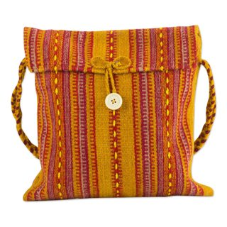Handmade Wool 'Zapotec Fire' Shoulder Bag (Mexico)