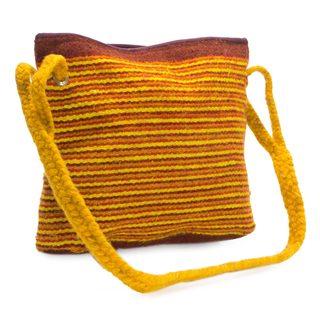 Handmade Wool 'Zapotec Sun' Shoulder Bag (Mexico)