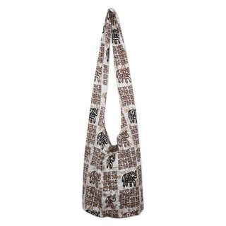 Handmade Cotton 'Brown Hindu Elephants' Shoulder Bag (Thailand)