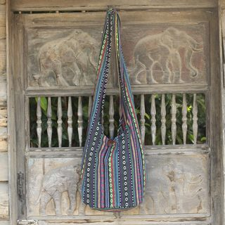 Handmade Cotton 'Hill Tribe Rainbow' Sling Bag (Thailand)