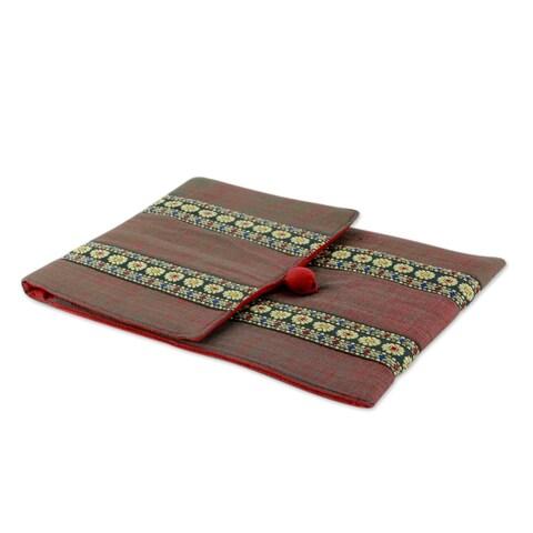 Handmade Cotton 'Assam Fields' iPad Sleeve (India)
