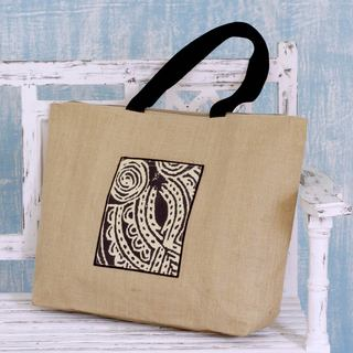Handcrafted Jute 'Midnight Owl' Tote Bag (India)