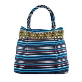 Cotton 'Gujarat Blue Fantasy' Shoulder Bag (India)