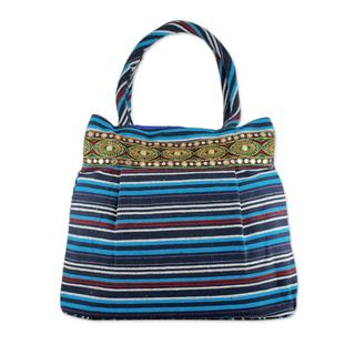 Handmade Cotton 'Gujarat Blue Fantasy' Shoulder Bag (India)