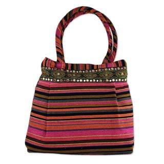 Handcrafted Cotton 'Gujarat Pink Fantasy' Shoulder Bag (India)
