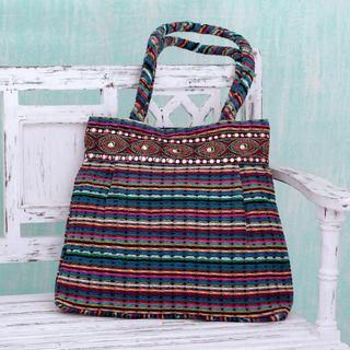 Handcrafted Cotton 'Twilight Rainbow' Shoulder Bag (India)