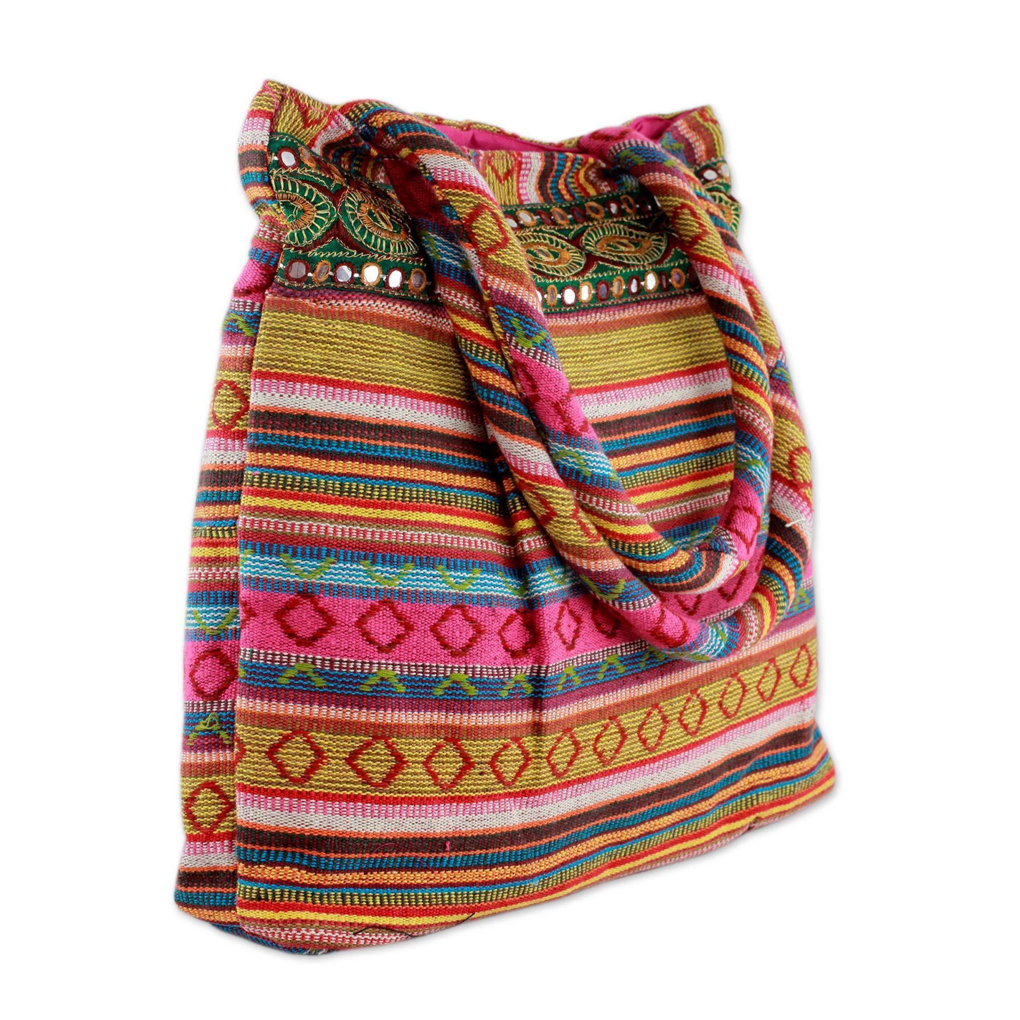 Handmade Cotton 'Pink Gujarat Glam' Shoulder Bag (India)