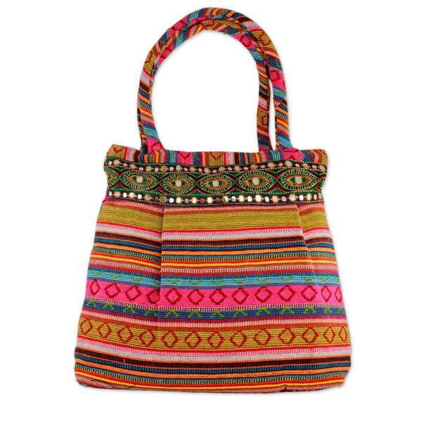 Shop Handmade Cotton 'Pink Gujarat Glam' Shoulder Bag (India) - On