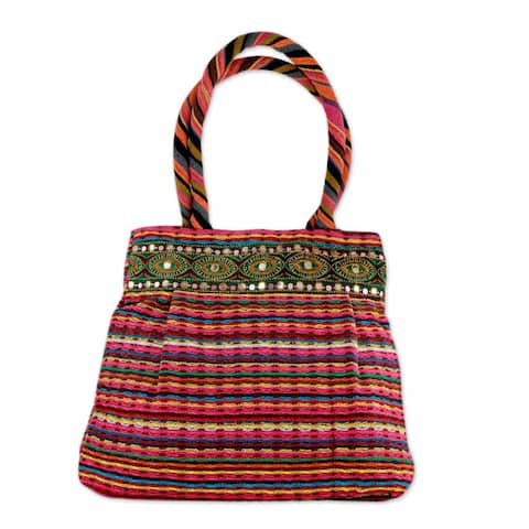 Handmade Cotton Dawn Rainbow Shoulder Bag (India)