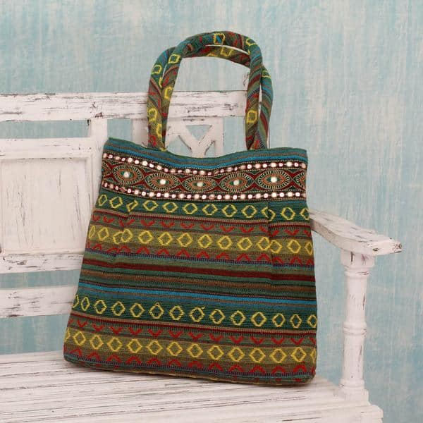 Shop Handmade Cotton 'Green Gujarat Glam' Shoulder Bag (India