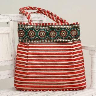 Embellished 'Crimson Gujarat Legacy' Shoulder Bag (India)