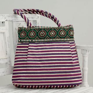 Embellished 'Purple Gujarat Legacy' Shoulder Bag (India)