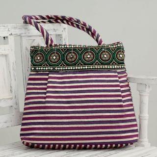 Handmade Embellished 'Purple Gujarat Legacy' Shoulder Bag (India)