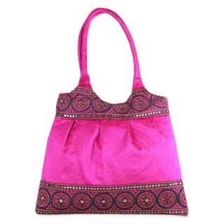 Embroidered 'Fuchsia Mandalas' Shoulder Bag (India)