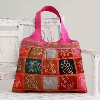 Embellished 'Fuchsia in Kutch' Tote Handbag (India)