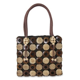 Handcrafted Coconut Shell 'Sunflower Garden' Tote Handbag (Thailand)