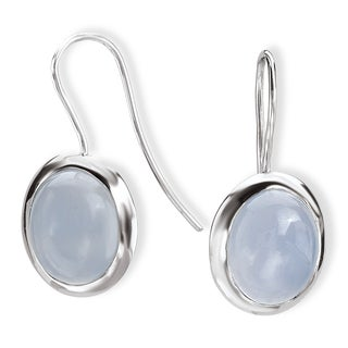 Avanti Sterling Silver Oval Bezel-set Chalcedony Earrings