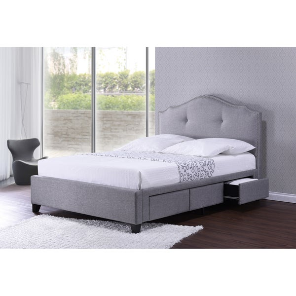 Baxton studio armeena grey linen modern storage bed with for Fabric bed frame with storage