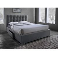 Sarter Contemporary Grid-Tufted Grey Fabric Upholstered Storage Bed with 2-drawer