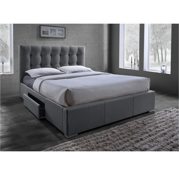 Sarter contemporary grid tufted grey fabric upholstered for Fabric bed frame with storage