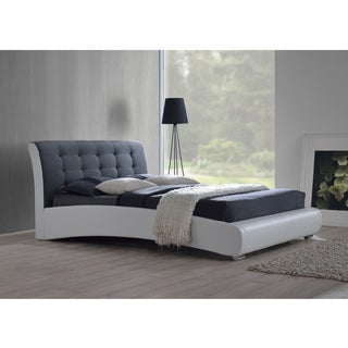 Guerin Contemporary White/ Grey Two-tone Faux Leather/ Micro Suede Upholstered Grid Tufted Queen-size Platform Bed