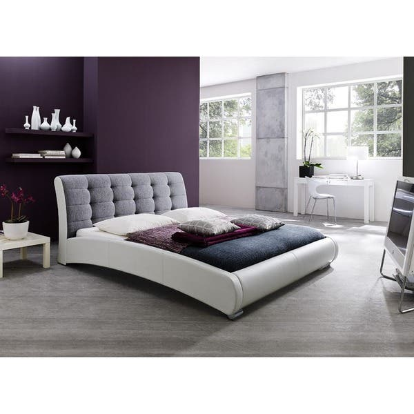 Guerin Contemporary White Faux Leather And Grey Fabric