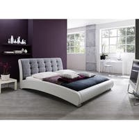 Guerin Contemporary White Faux Leather and Grey Fabric Upholstered Grid Tufted King-size Platform Bed