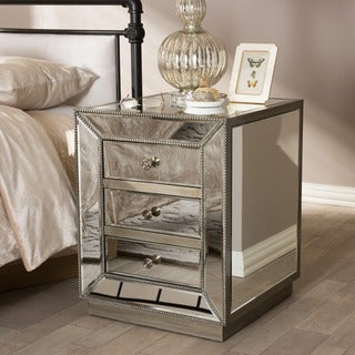 Currin Contemporary Mirrored 3-Drawer Nightstand