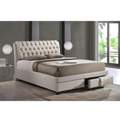 e83573a99607 Baxton Studio Ainge Contemporary Button-tufted Light Beige Fabric  Upholstered 2-drawer Storage Bed