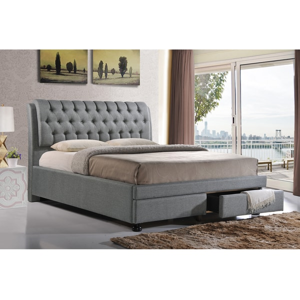 Baxton Studio Ainge Contemporary On Tufted Grey Fabric Upholstered 2 Drawer Storage Bed