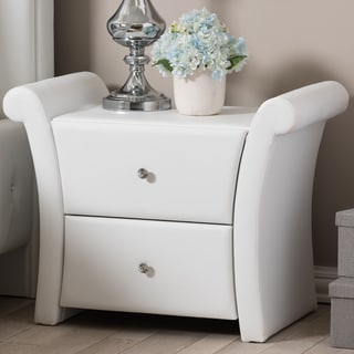 Baxton Studio Victoria Matte White PU Leather 2-drawer Bedside Nightstand