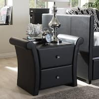 Silver Orchid Dora Matte Black PU Leather 2-drawer Bedside Nightstand