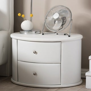Rallston Contemporary White PU Leather Upholstered 2-Drawer Nightstand