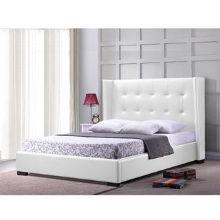 Luna White Faux Leather Upholstered Button Tufted Platform Bed