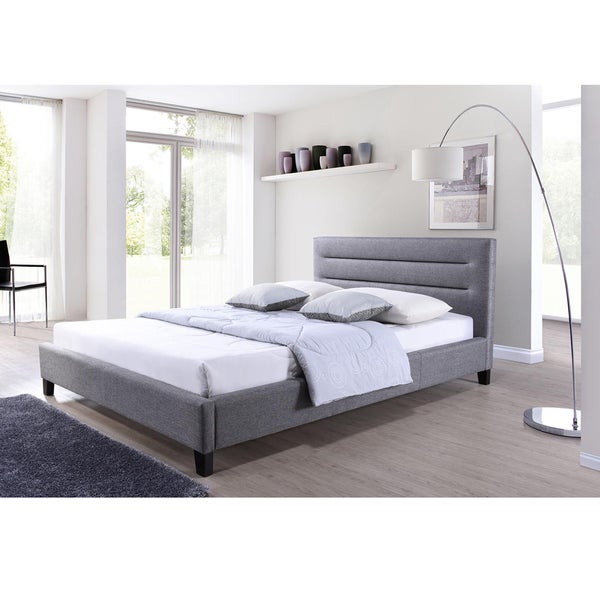 hillary grey fabric upholstered platform bed free