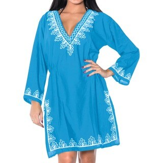 La Leela Embroidered RAYON SWIMSUIT Beach Cover up Tunic Bikini Dress Blue