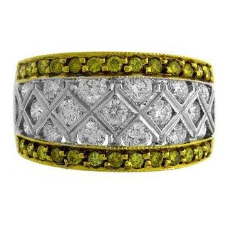 Azaro 18k Two-tone Gold 1 7/8ct TDW Yellow and White Diamond Fashion Ring (G-H, SI1-SI2)