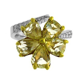 Azaro Platinum and 18k Yellow Gold 4 1/5ct TDW Yellow and White Diamond Floral Ring (G-H, SI1-SI2)