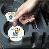 Kansas Jayhawks Absorbent Stone Car Coaster (Set of 2)