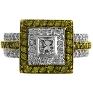 Azaro 18k Two-tone Gold 1 1/3ct TDW Yellow and White Diamond Square Fashion Ring (G-H, SI1-SI2)
