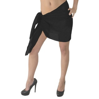 La Leela Soft 100-percent Cotton Solid Plain WOMEN Beach Pareo Sarong 72X21 Inch Black