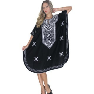 La Leela RAYON Embroidered Tunic Top Cap Sleeves Maxi Dress Beach PLUS Size Kaftan Black