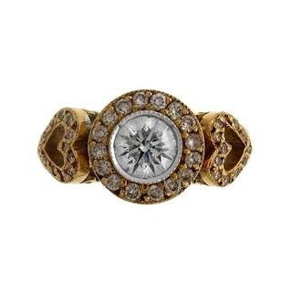 Azaro 18k Two-tone Gold 1 1/3ct TDW Pink and White Diamond Fashion Ring