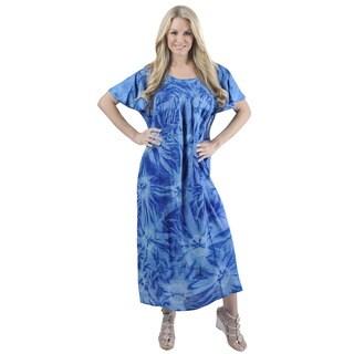 La Leela RAYON Cover up Scoop Neck HAND Tie Dye Top Casual Beach Dress DarkBlue