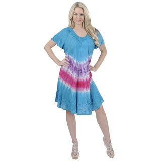 La Leela RAYON PLUS Size Cover up Tank HAND Tie Dye Short Beach Dress Purple