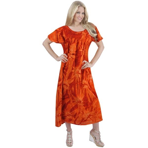 23ff10ff2b89 La Leela RAYON Cover up Scoop Neck HAND Tie Dye Top Casual Beach Dress  Orange